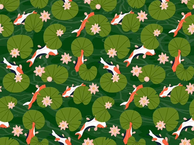Koi carp fishes under green lotus leaves seamless pattern many goldfishes swim in water pond