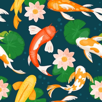Koi carp fishes swim in blue water with pink lotus lily flowers, seamless traditional pattern. cartoon yellow white orange red fish swimming in pond of japanese oriental garden