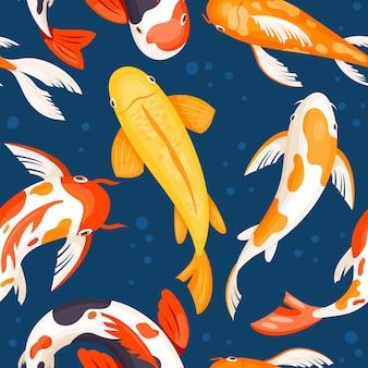 青い水の中の鯉、金白赤の色のベクトルで日本の魚のシームレスなパターン