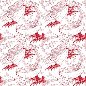 Koi carps japanese white red seamless pattern