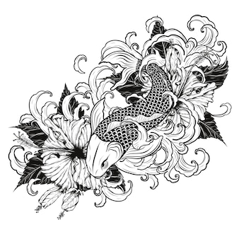 Koi fish and Hibiscus tattoo by hand drawing.