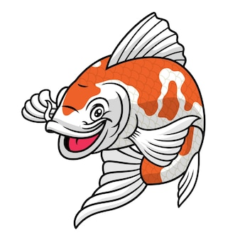 Koi fish cartoon character