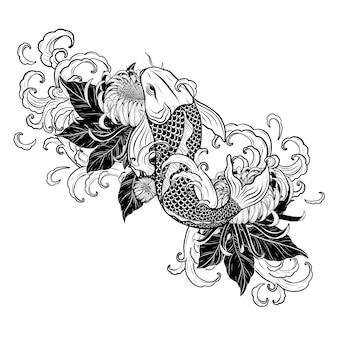 Koi fish and chrysanthemum tattoo by hand drawing