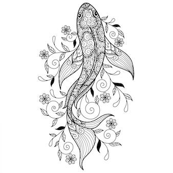 鯉。大人の塗り絵の手描きのスケッチ図