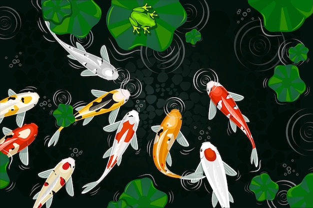 잉어 물고기 일러스트 디자인