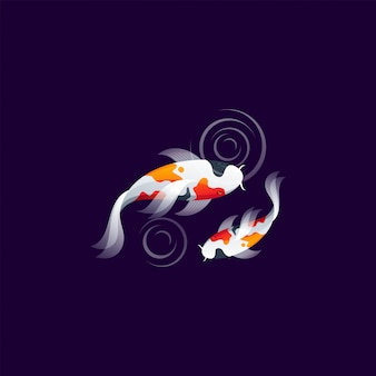 Koi fish logo design vector ilustration