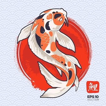 Koi fish on painted red circle. japanese carp.