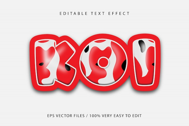 Koi fish pattern text effect, editable text