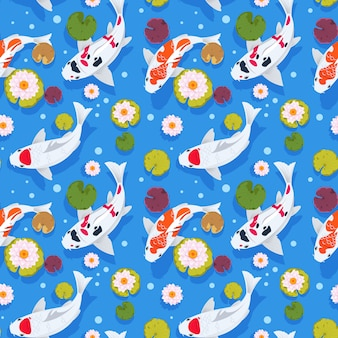 Koi fish seamless pattern. japanese carp in china garden. oriental nature background. asian wallpaper