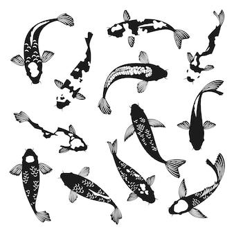 Koi fish silhouettes.