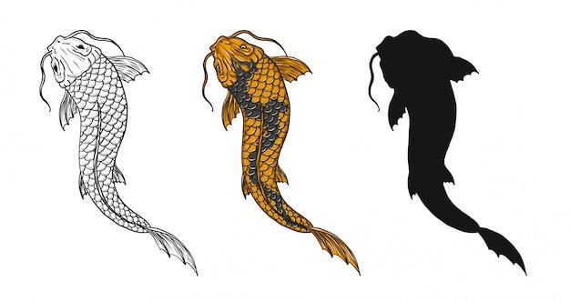 Koi fish tattoo by hand drawing