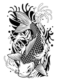 Koi fish tattoo design in classic japan style