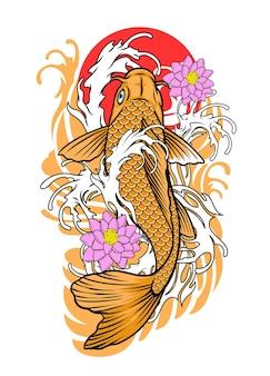 Koi fish tattoo design in vintage look