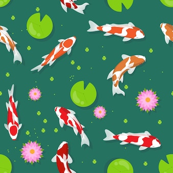 Koi fish vector seamless pattern