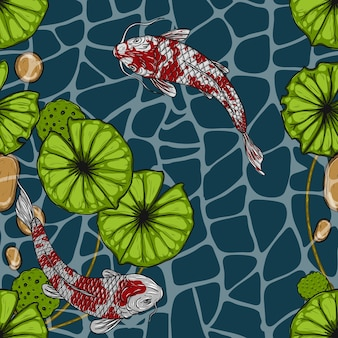 Koi fish with lotus seamless pattern by hand drawing