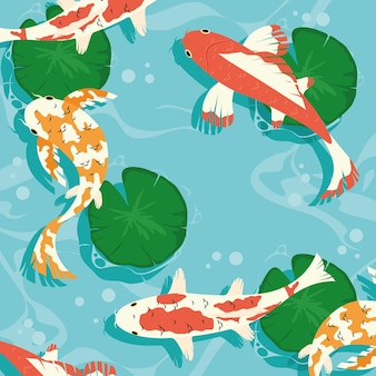 Koi fishes collection with lotus leaves