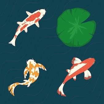 Koi fishes set with lotus leaf