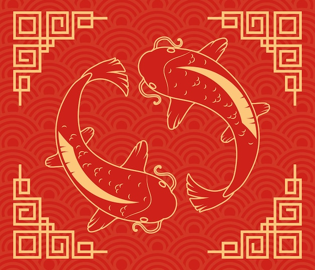 Koi fishes ying yang on red background