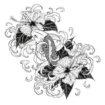 Рыбы koi и татуировка hibiscus вручную.