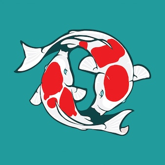 Koi logo design, koi illustration