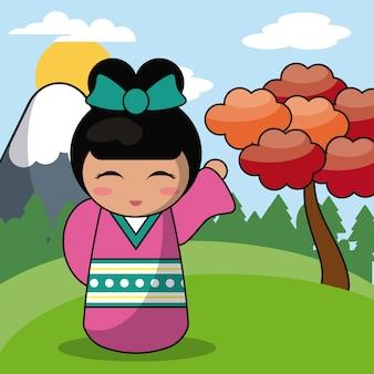 목각 인형 일본 풍경 이미지