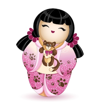 Kokeshi doll in a pink kimono with a kitten.