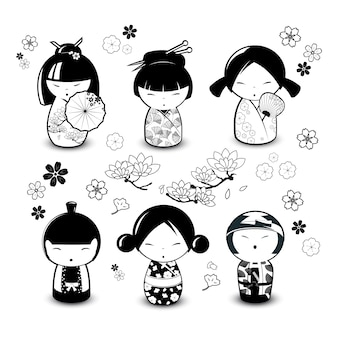 Куклы kokeshi в черно-белом стиле. векторная иллюстрация
