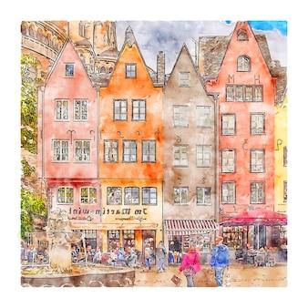 Koln 독일 수채화 스케치 손으로 그린 그림