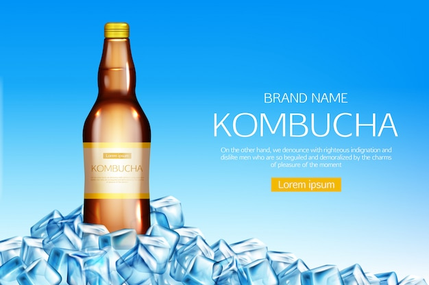 Kombucha bottle on ice cubes heap banner