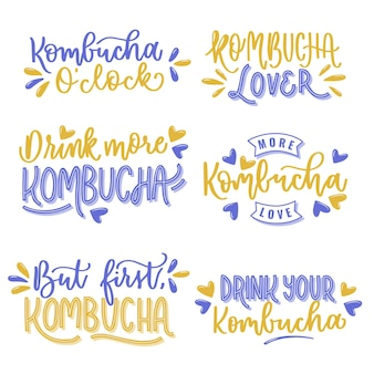 Kombucha tea lettering collection design