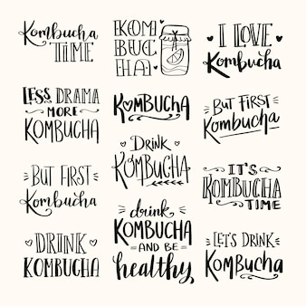 Kombucha tea lettering collection