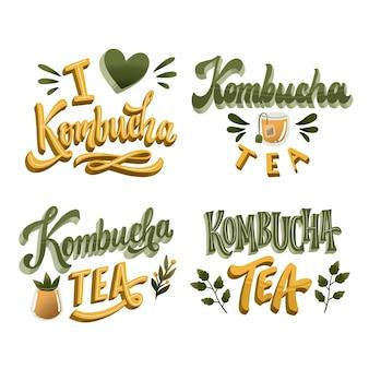 Комбуча чай - коллекция надписей