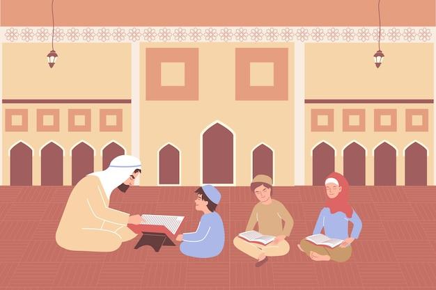 코란 아이는 이맘 책과 어린이 삽화가 있는 이슬람 사원의 실내 전망을 통해 평평한 구성을 배웁니다.