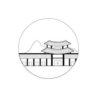 Korea palace in transparent outline design