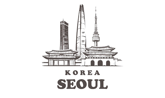 Korea, seoul hand-drawn architecture