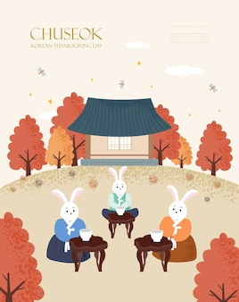 Korea tradition  illustration. chuseok, happy korean thanksgiving day.