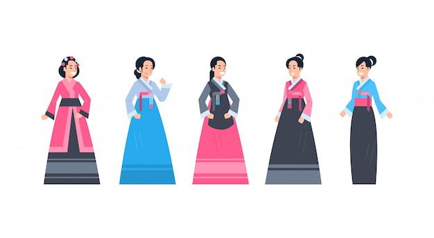 Korea traditional clothes set of women wearing ancient korean dress isolated asian costume concept