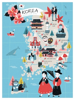 한국 여행지도, 러블리 스타일 한국 명소 및 여행자를위한 특산품