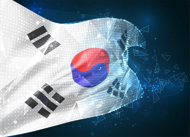 한국, 벡터 플래그, 파란색 배경에 삼각형 다각형에서 가상 추상 3d 개체