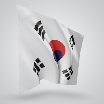 Korea, vector flag with waves and bends waving in the wind on a white background.