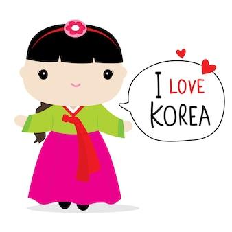 韓国女性ドレス漫画ベクトル