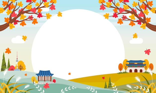 Korean autumn background in flat design
