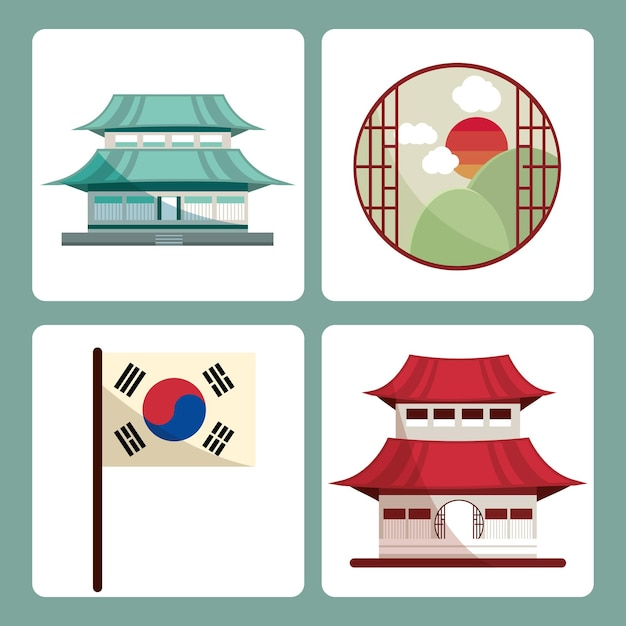 한국 건물과 깃발