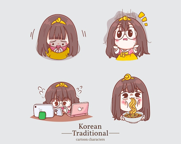 Корейские персонажи милых девушек в традиционных корейских мультфильмах платья ханбок. установить иллюстрацию