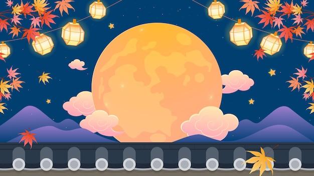 한국 추석 가을 밤 축제 배경 벡터