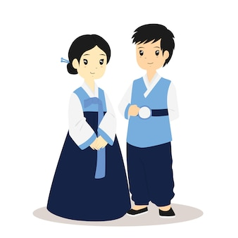 Korean couple in traditional hanbok dress vector