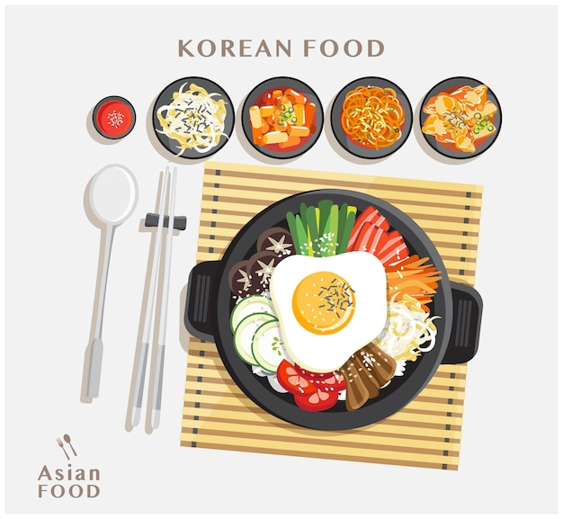 Korean cuisine bibimbap set, rice mixing with various ingredients in black bowl top view illustration