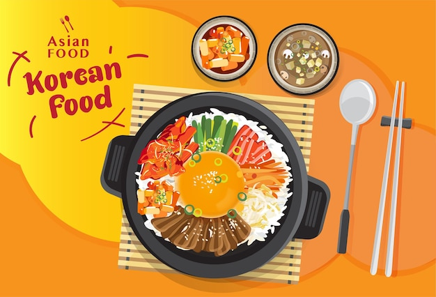Korean cuisine bibimbap set, rice mixing with various ingredients in black bowl, top view   illustration