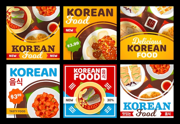 Korean cuisine food menu, asian restaurant dishes of soup, kimchi with rice and ramen bowls.