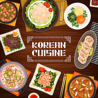 Korean cuisine food restaurant banner. scallop salad and vegetable stuffed squid, grilled beef bulgogi and fried shrimp with spinach, seafood, pork tofu and kimchi soup vector. korean food meals